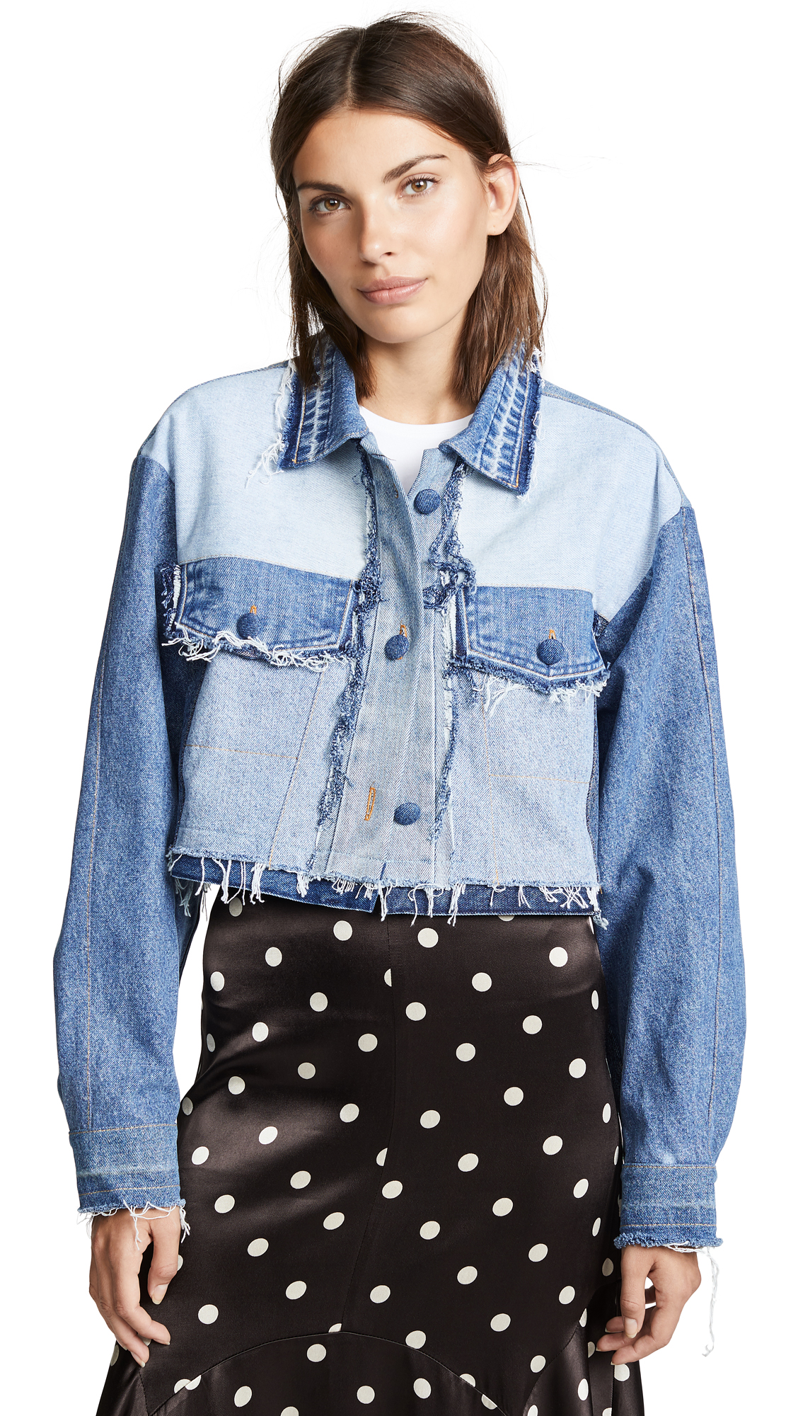 Ksenia Schnaider Reworked Denim Jacket In Mixed Blue