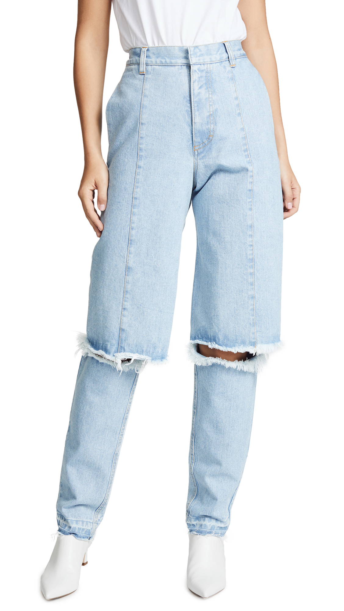Ksenia Schnaider Slim Demi Jeans In Light Blue