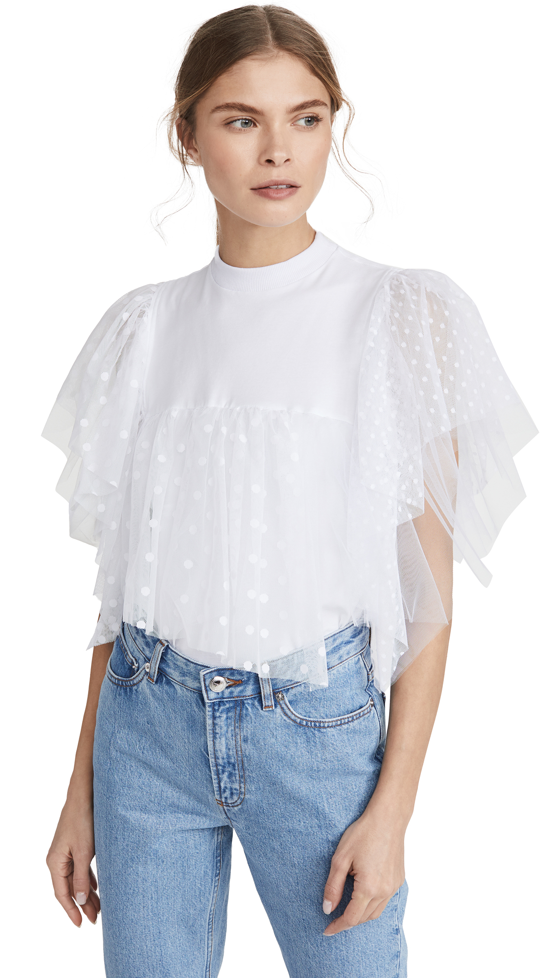 Ksenia Schnaider Top with Tulle Ruffles - 30% Off Sale