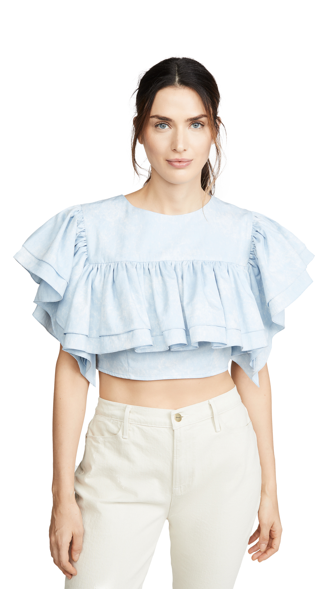 Ksenia Schnaider Cropped Top with Ruffles - 60% Off Sale