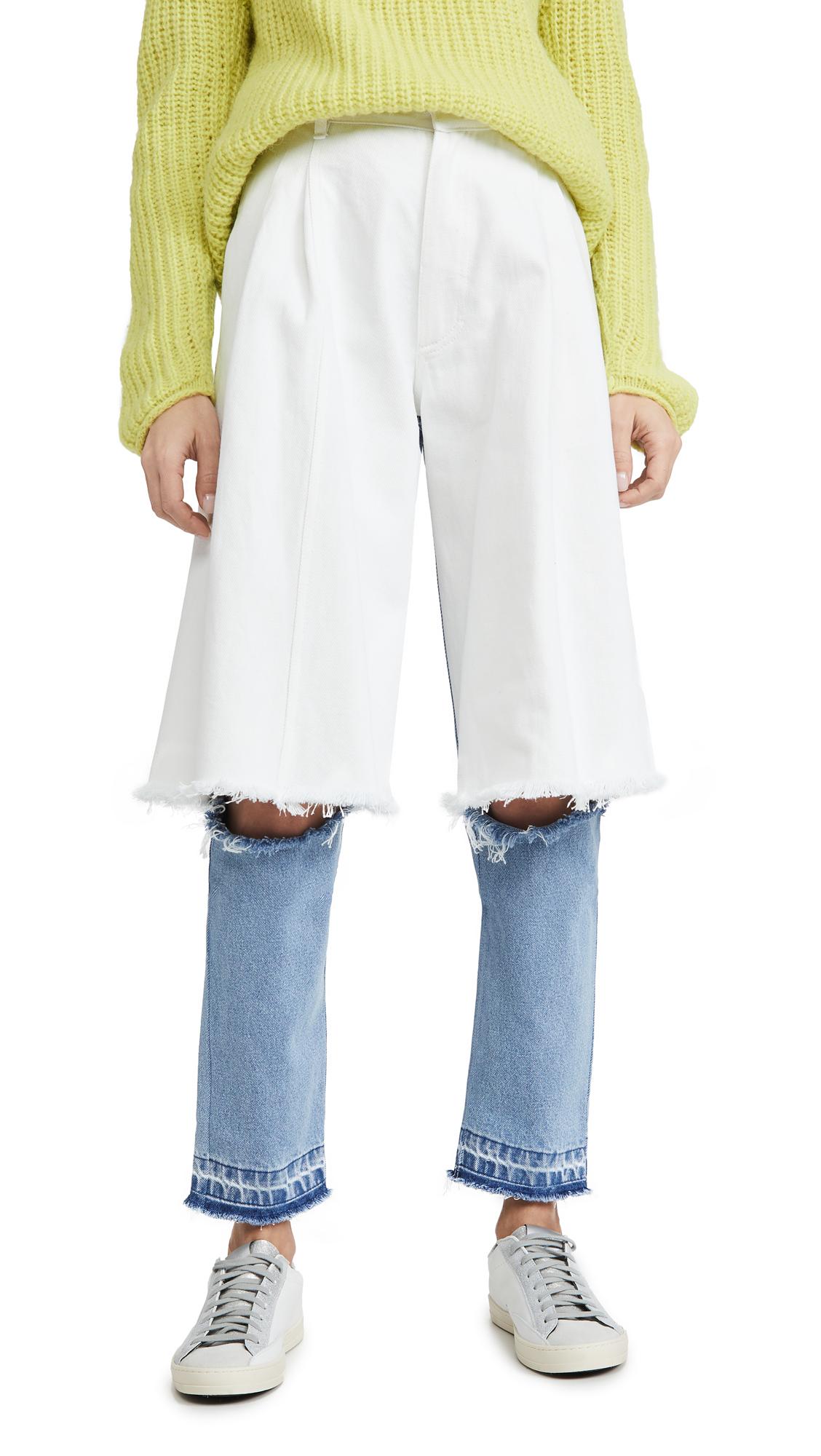 Buy Ksenia Schnaider online - photo of Ksenia Schnaider Light Blue and White Demi Denims Jeans