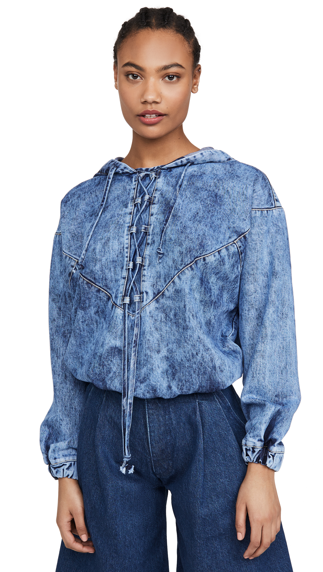 Ksenia Schnaider Acid Wash Denim Hoodie – 50% Off Sale