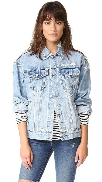 Ksubi Oversized Jean Jacket - Trashed Blue