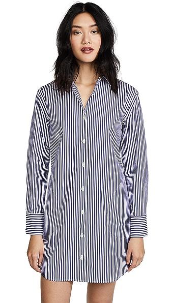 KULE The Shirt Dress In White/Navy