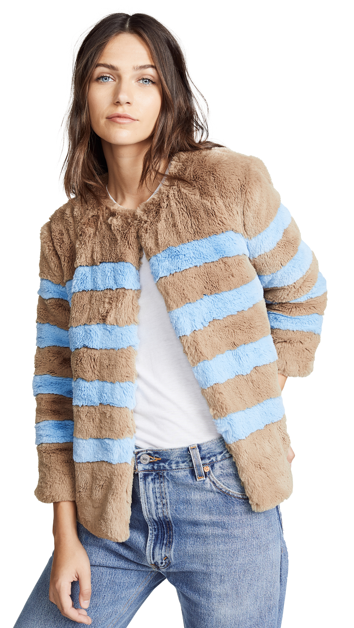 KULE The Bailey Coat In Camel/Light Blue
