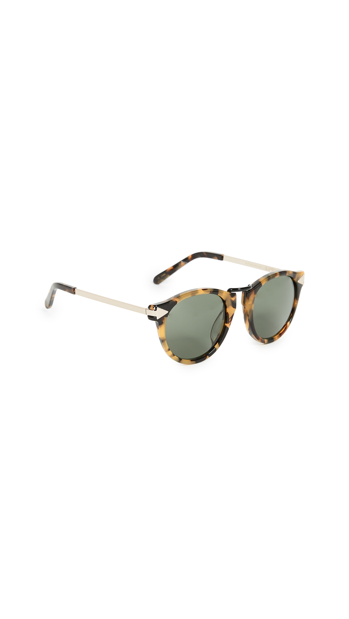 Karen Walker Special Fit Helter Skelter Sunglasses In Crazy Tort/G15 Mono