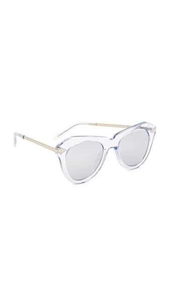 Karen Walker One Star Sunglasses - Crystal Clear Silver/Silver