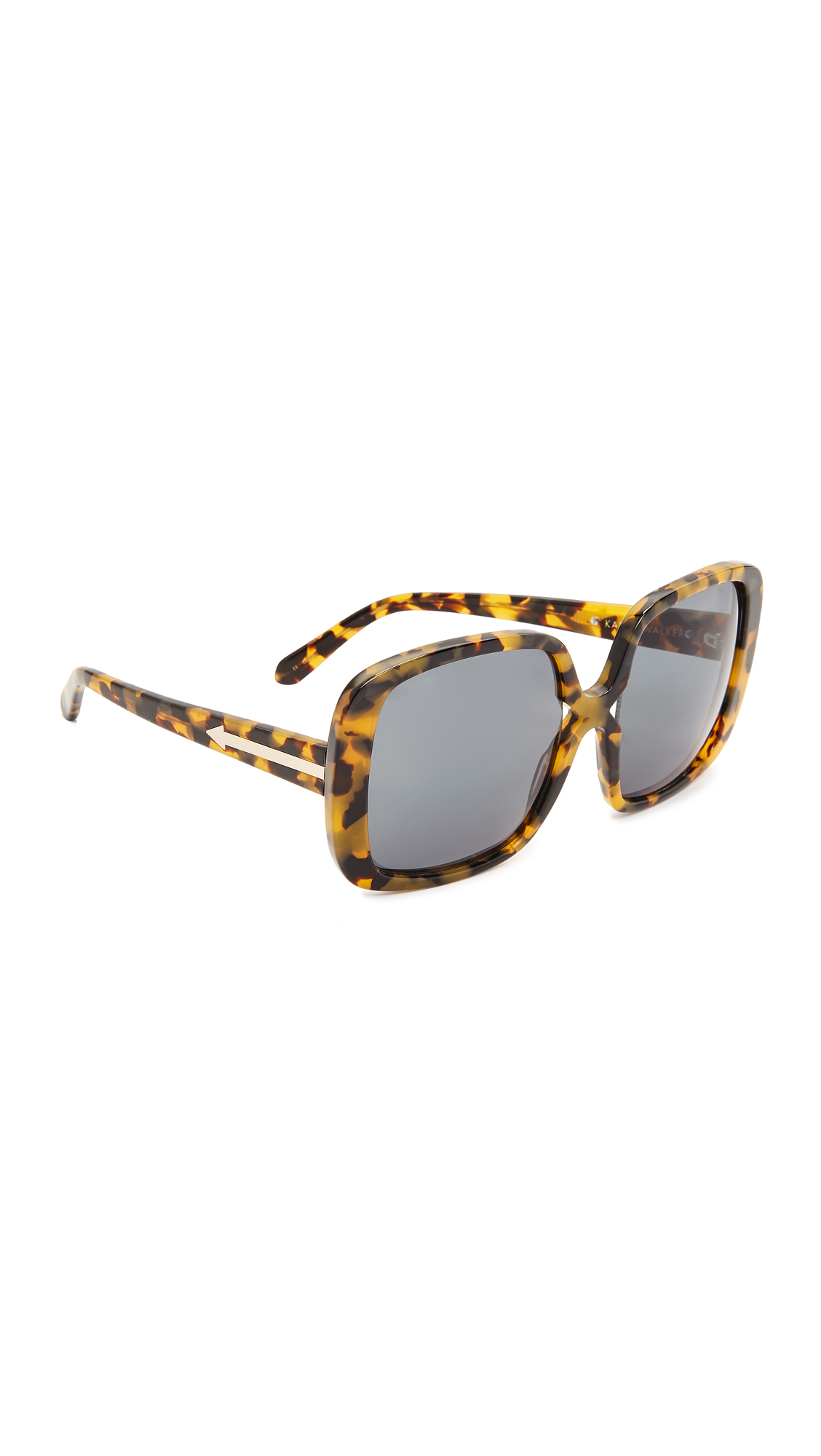 Oversized frames give these Karen Walker sunglasses a distinct, dramatic look. Hard case and cleaning cloth included. Oversized frame. Non polarized lenses. Imported, China. Measurements Width: 6in / 15cm Height: 2.75in / 7cm Lens Width: 56mm. Available sizes: