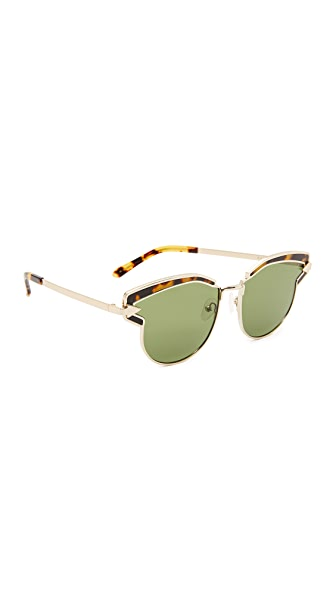 Karen Walker Felipe Sunglasses In Gold Crazy Tort/G15 Mono