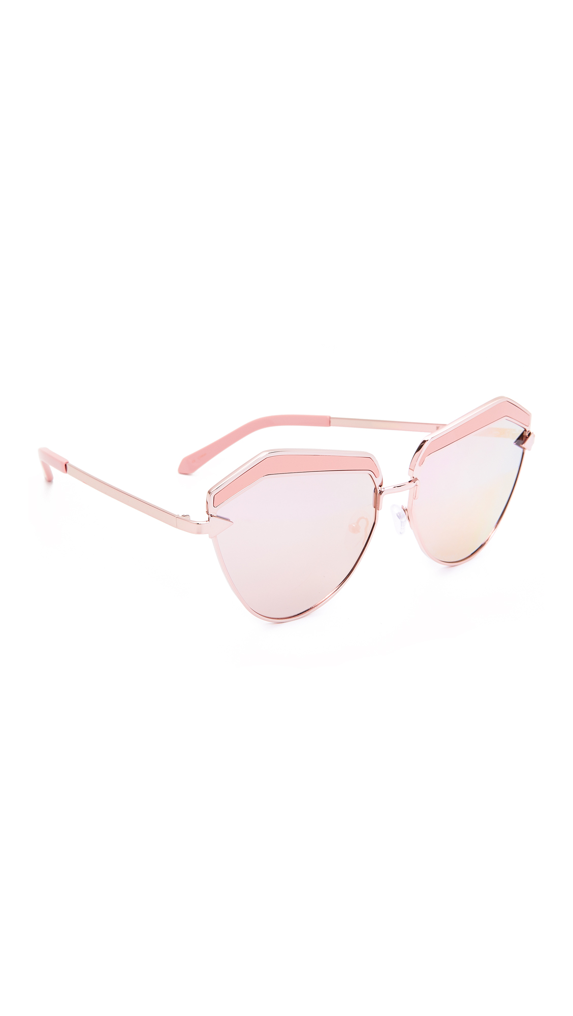 Inlays accent the top of these angular Karen Walker cat eye sunglasses. Mirrored lenses. Hard case and cleaning cloth included. Cateye frame. Non polarized lenses. Imported, China. Measurements Width: 5.75in / 14.5cm Height: 2.25in / 6cm Lens Width: 60