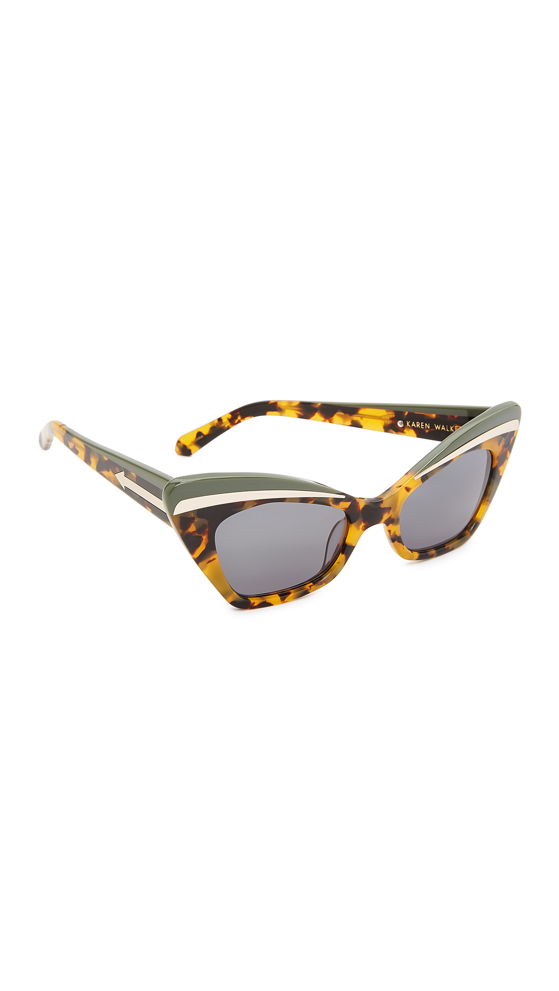 Retro style Karen Walker sunglasses in metal trimmed cat eye frames. Hard case and cleaning cloth included. Cateye frame. Non polarized lenses. Imported, China. Measurements Width: 6in / 15cm Height: 1.75in / 4.75cm Lens Width: 50mm. Available sizes: