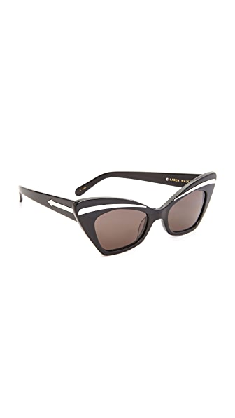 Karen Walker Babou Sunglasses - Black Silver/Smoko Mono