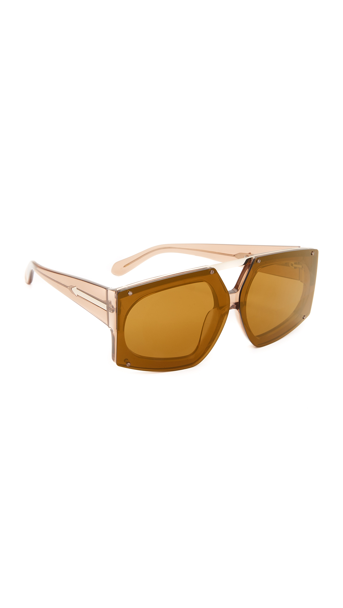Bold Karen Walker sunglasses in a rimless shield shape. Metal trim. Hard case and cleaning cloth included. Shield frame. Non polarized lenses. Imported, China. Measurements Width: 6in / 15cm Height: 2.25in / 6cm Lens Width: 66mm. Available sizes:
