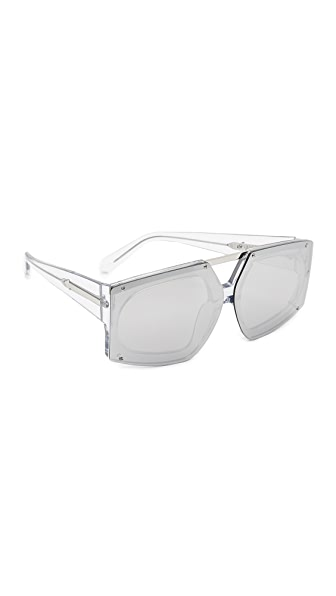 Karen Walker Salvador Sunglasses - Crystal Clear Silver/Silver