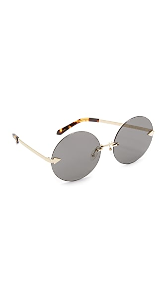 Karen Walker Disco Circus Sunglasses In Crazy Tort Gold/Smoke Mono