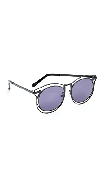 Karen Walker Superstars Simone Sunglasses - Black/Smoke Mono