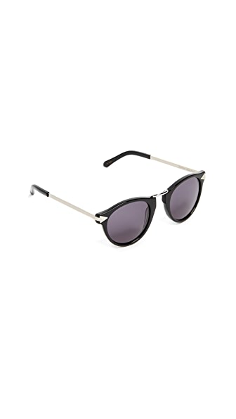 Karen Walker Helter Skelter Sunglasses In Black/Smoke Mono