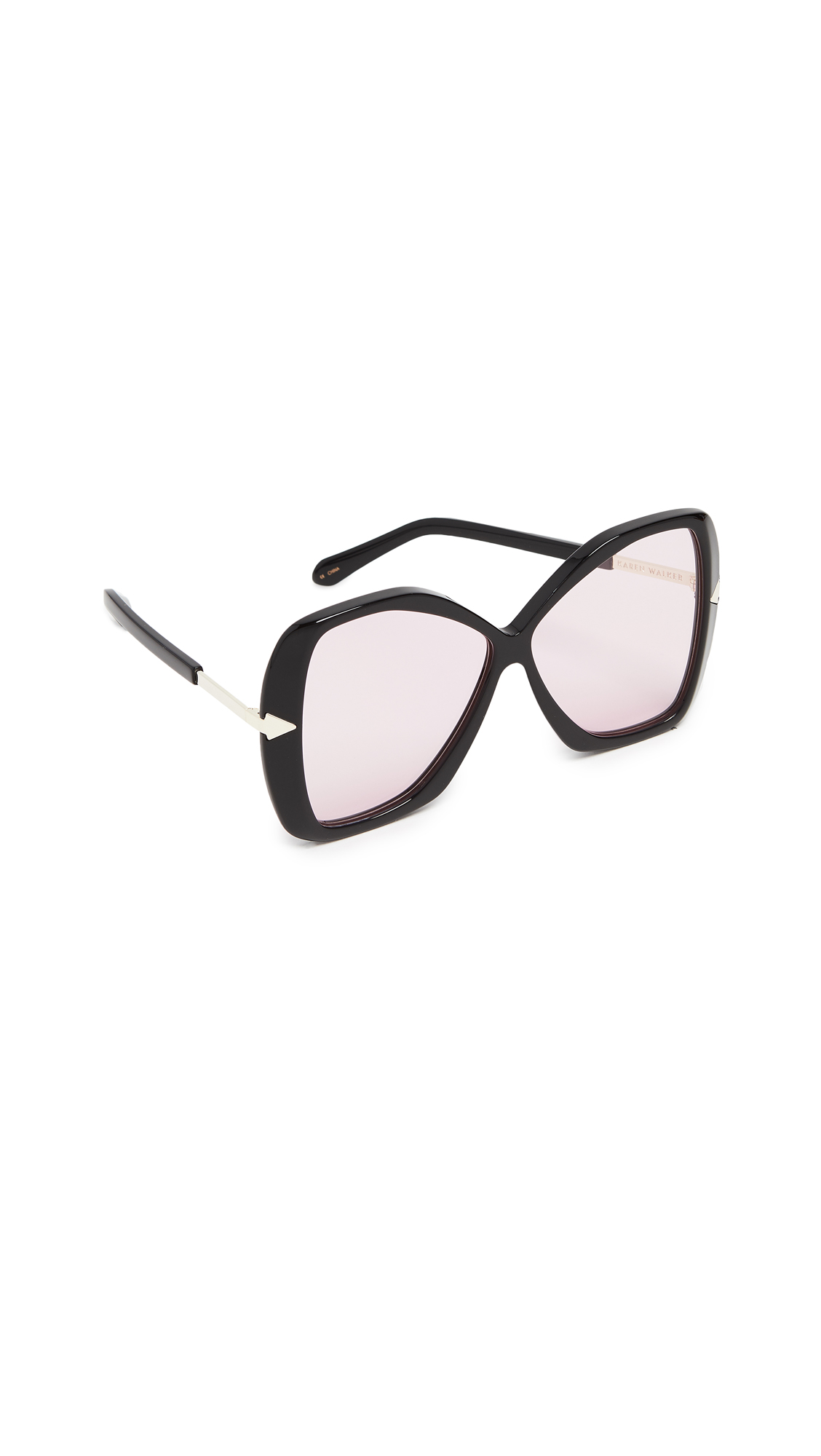 Mary Sunglasses, Black/Pink Tint