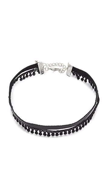 Lacey Ryan Pom Pom & Leather Choker Necklace