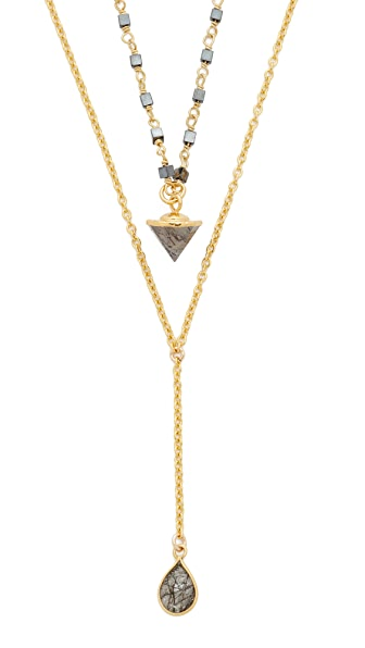 Lacey Ryan Dainty Layer Lariat Necklace - Hematite/Labradorite/Brass