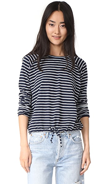 The Lady & The Sailor Ballet Drawstring Pullover - Navy Stripe