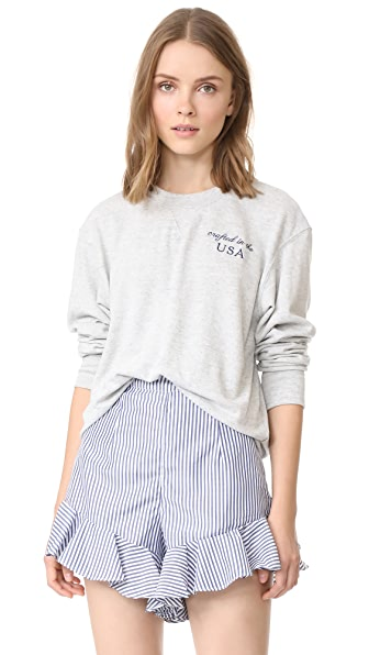 The Lady & The Sailor Embroidered Varsity Crew Neck - Heather Gris
