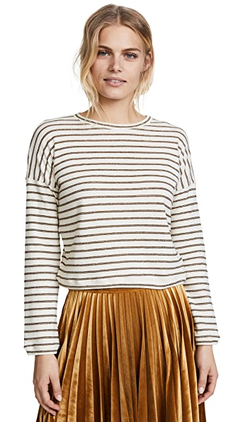 The Lady & The Sailor Metallic Stripe Cropped Sweater In Ivory/Gold