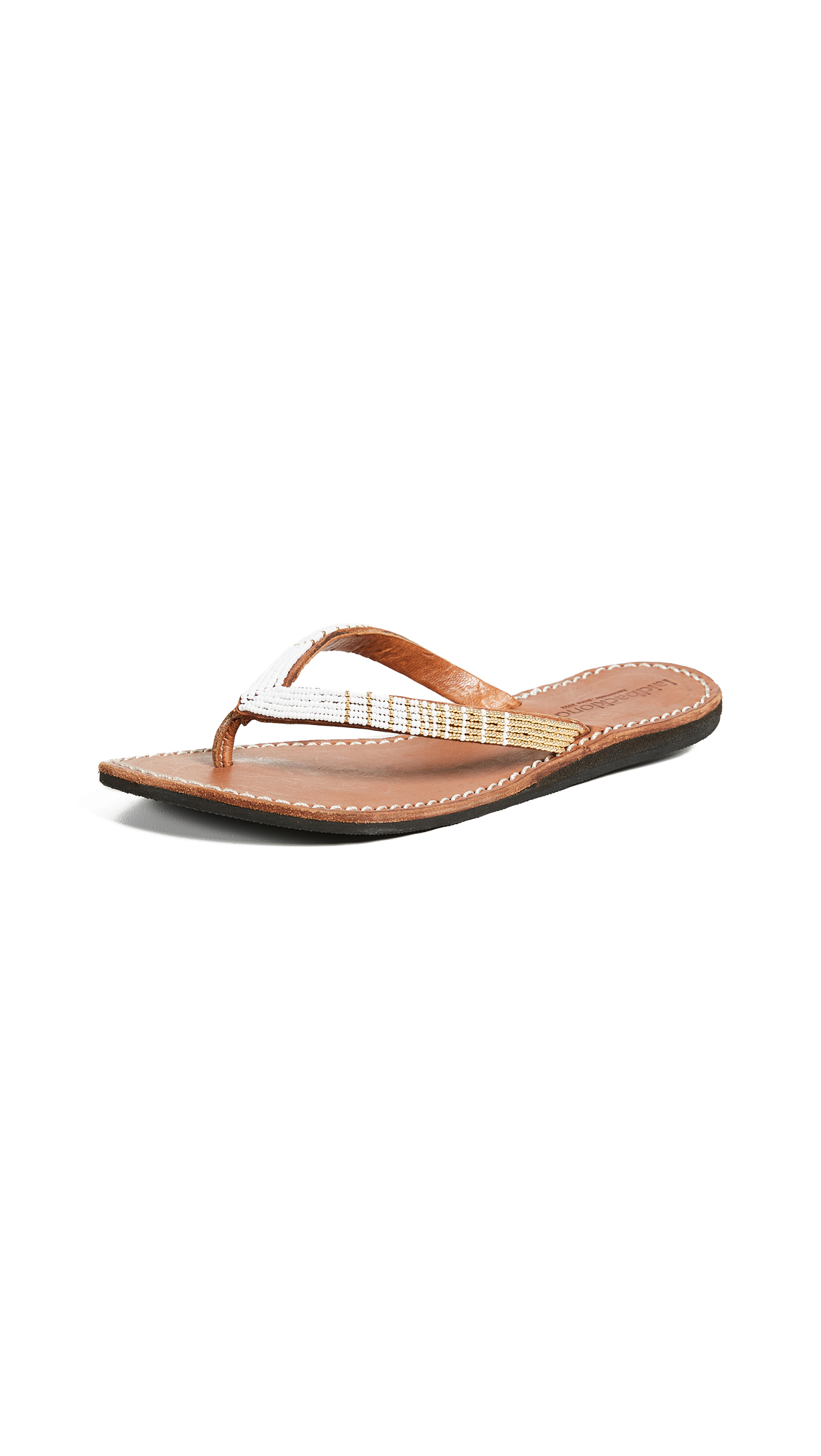 Laidback London Seri Flip Flops - Brown/White/Gold