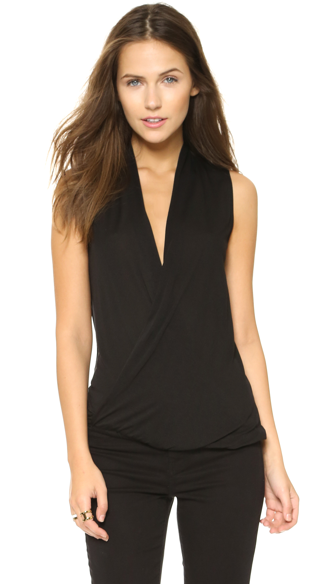 Lanston Surplice Pullover Top - Black
