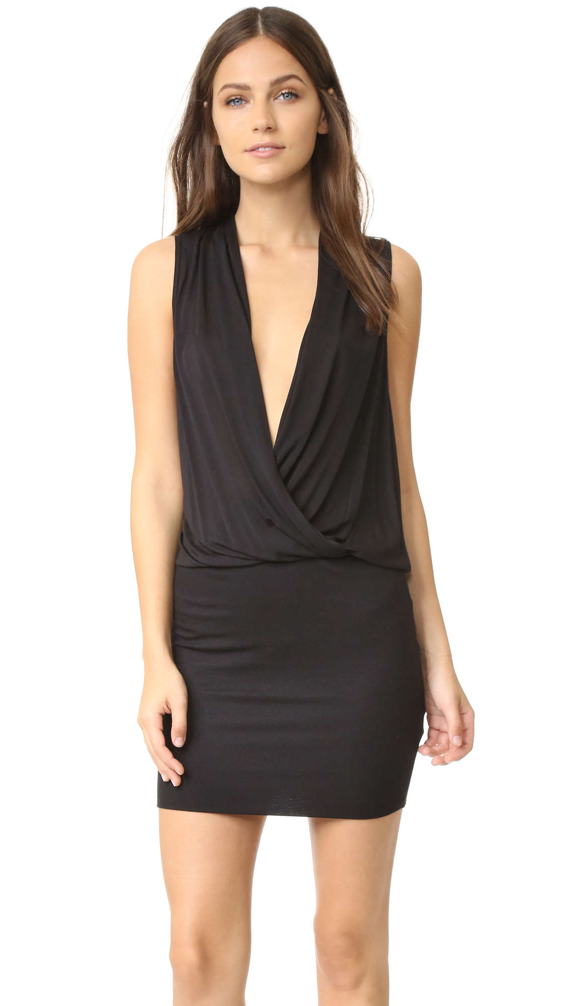Lanston Surplice Mini Dress - Black at Shopbop