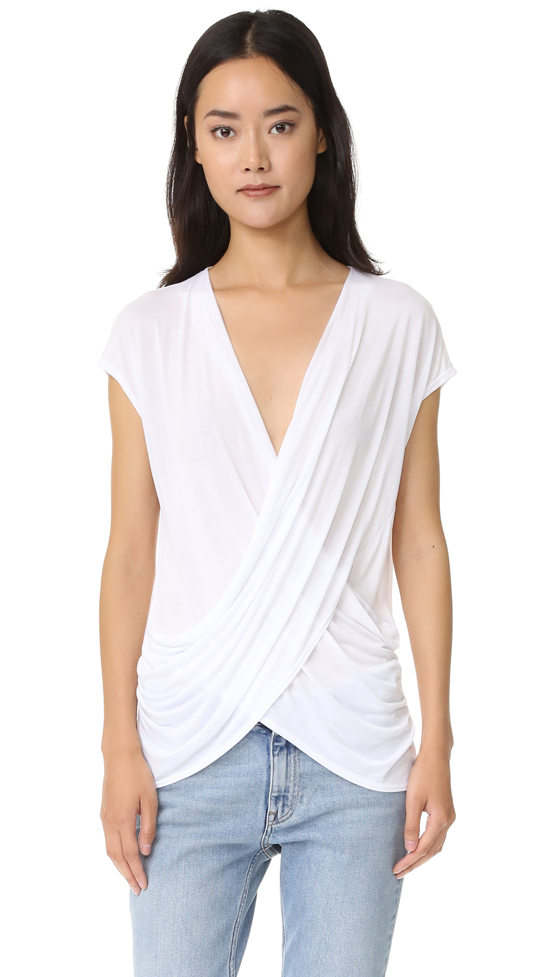 Lanston Crossover Surplice Top - White at Shopbop