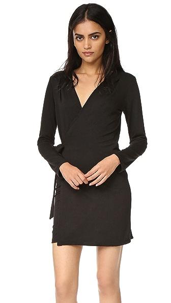 Lanston Wrap Mini Dress - Black