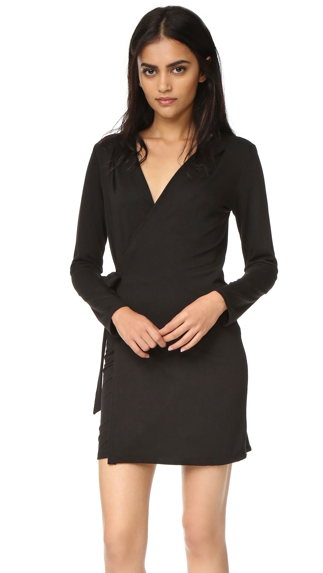 Lanston Wrap Mini Dress - Black