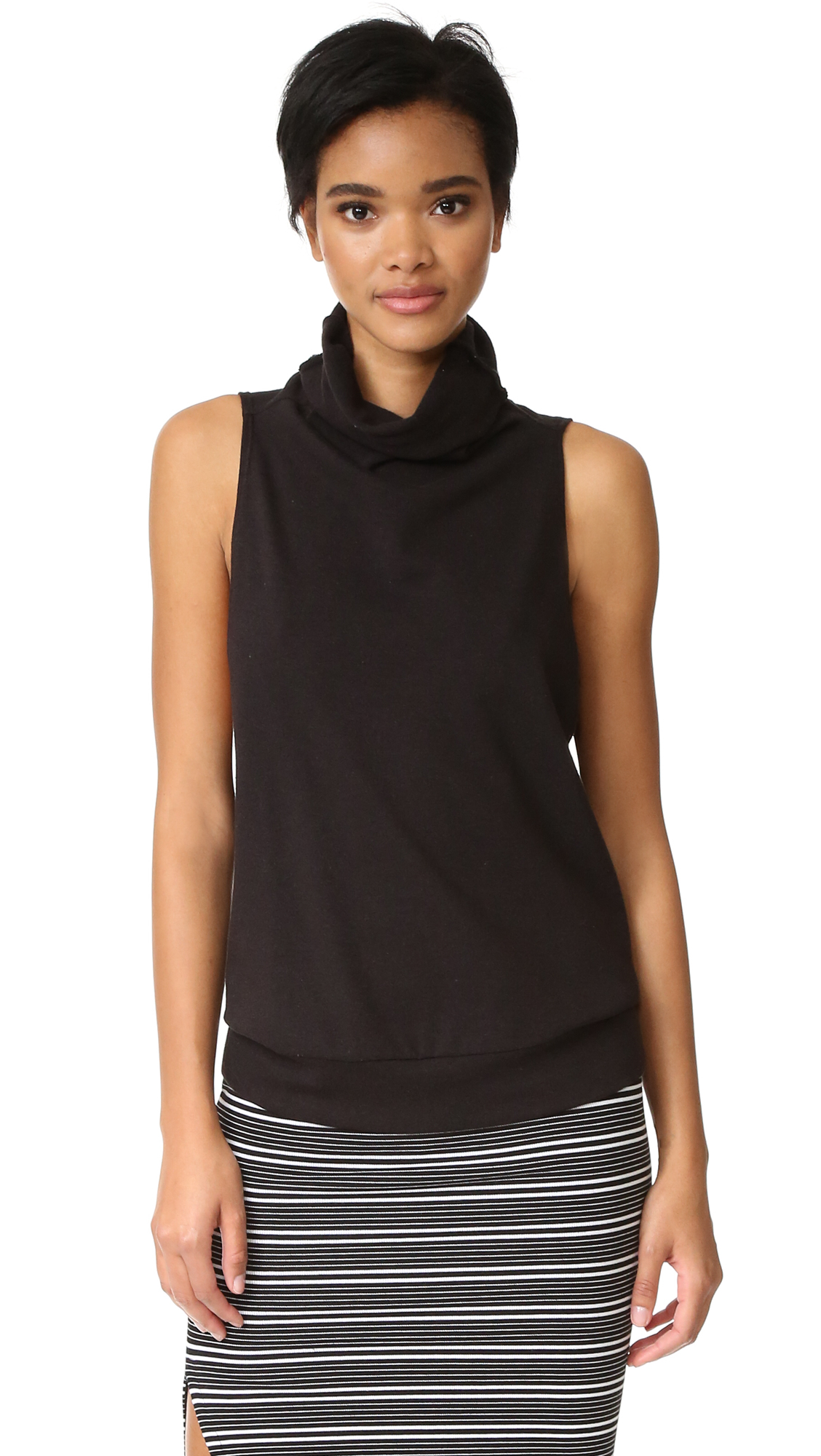 Lanston Turtleneck Sleeveless Tank - Black at Shopbop