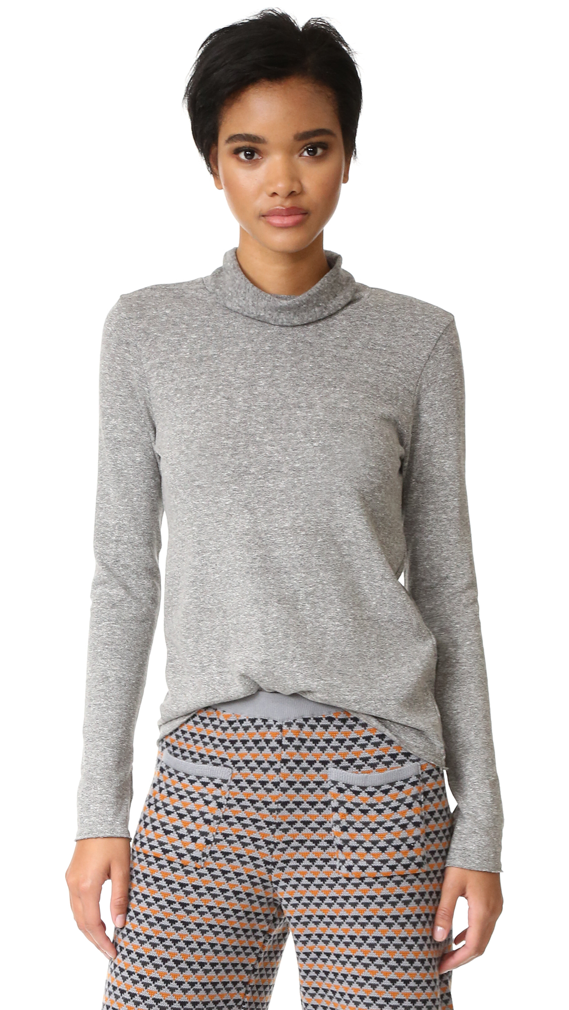 Lanston Turtleneck Top With Thumbholes - Heather Grey at Shopbop