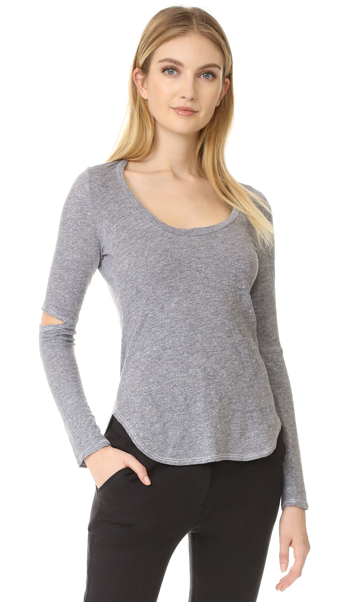 Lanston Cutout Long Sleeve Tee - Heather at Shopbop
