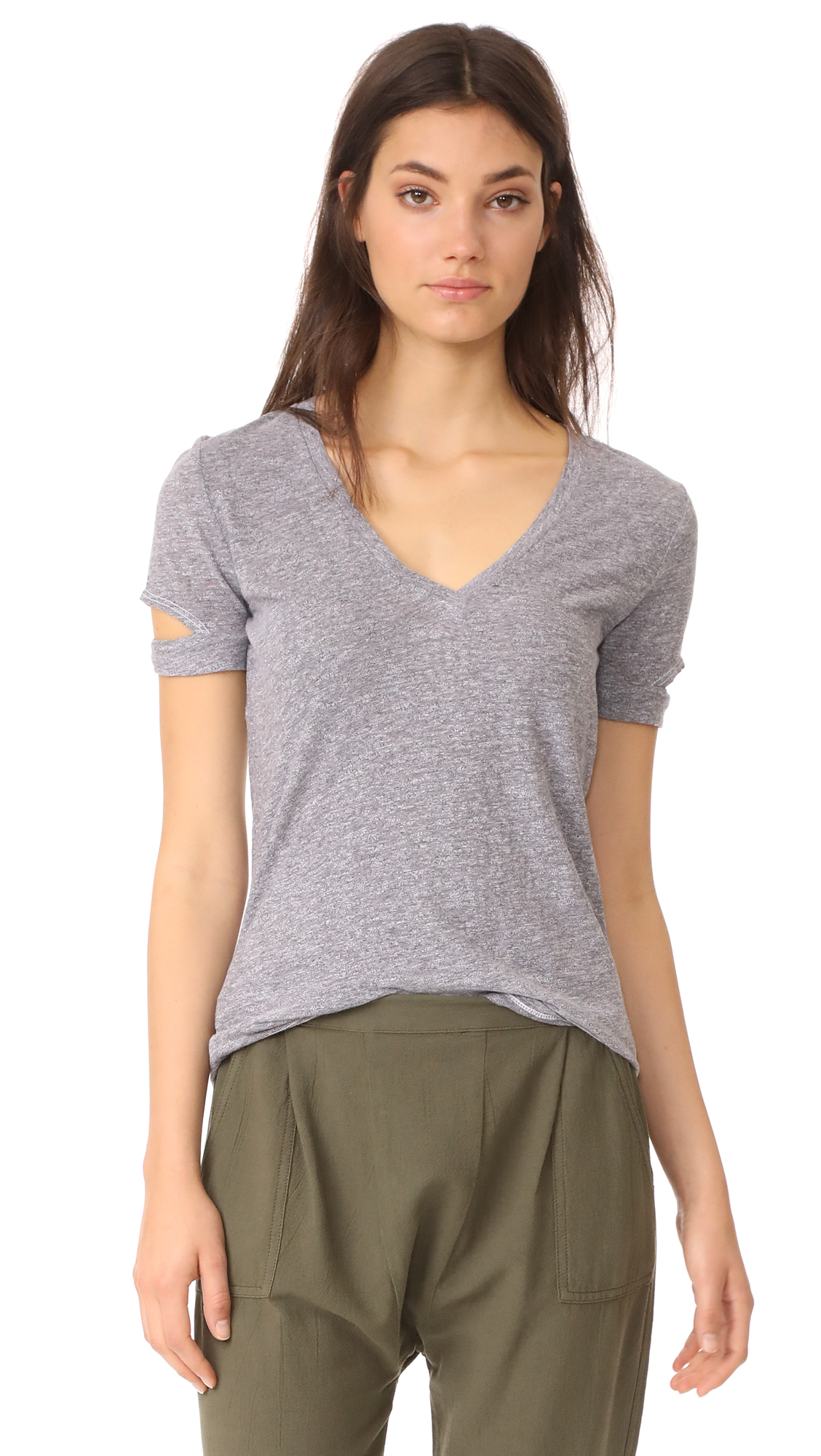 Lanston Slit Sleeve Tee In Heather