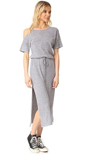 Lanston Cold Shoulder Tee Midi Dress - Heather