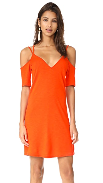Lanston Cold Shoulder X Strap Dress - Poppy