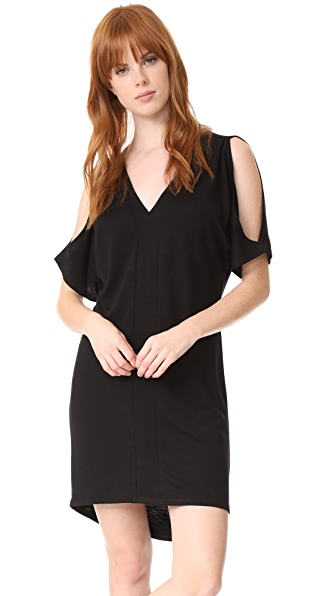 Lanston Cold Shoulder Caftan Dress - Black