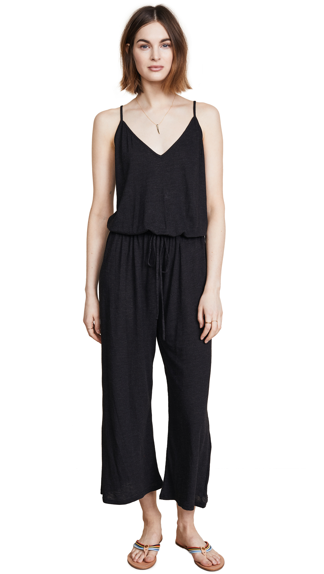 Lanston Drawstring Back Midi Jumpsuit In Black
