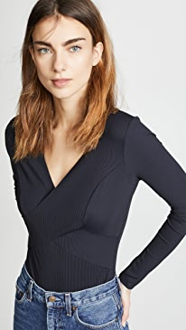 Lanston Ribbed Wrap Bodysuit