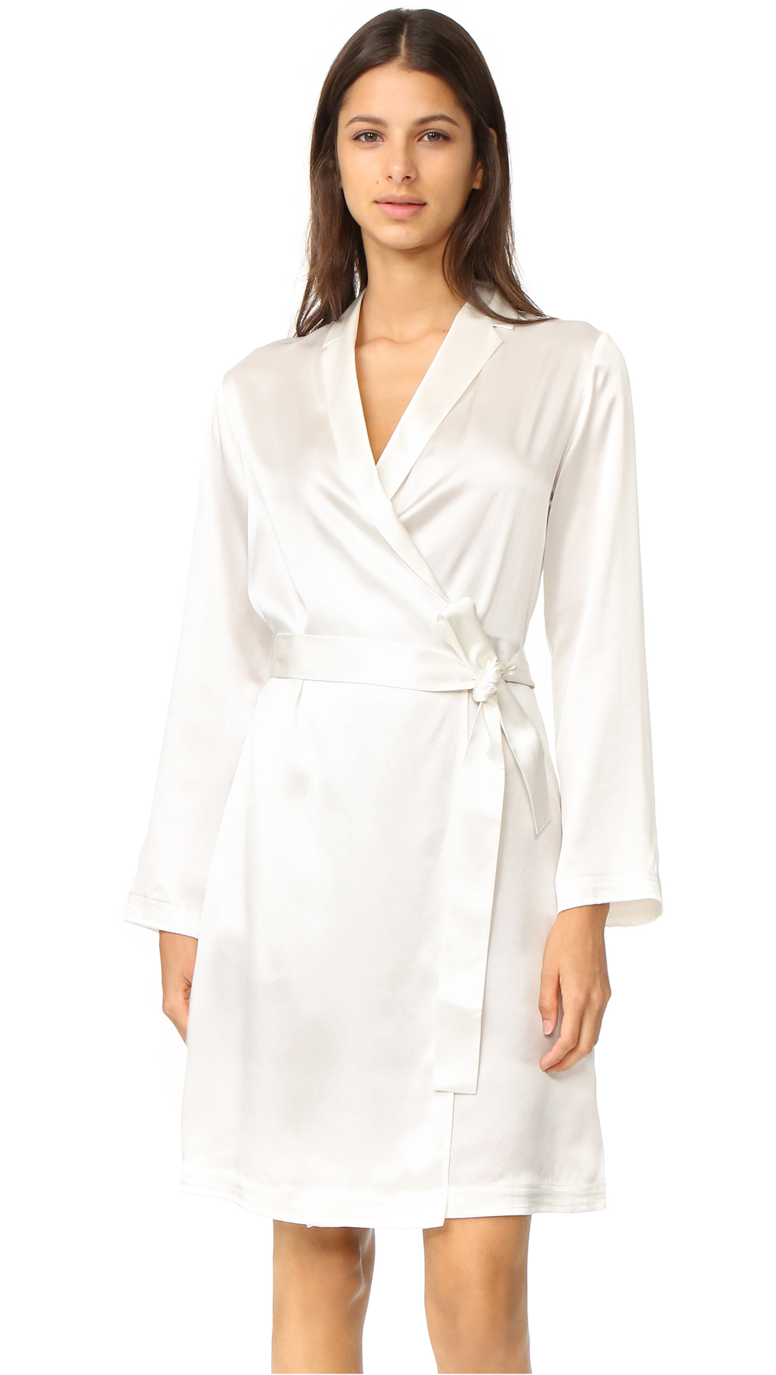La Perla Silk Short Robe In White