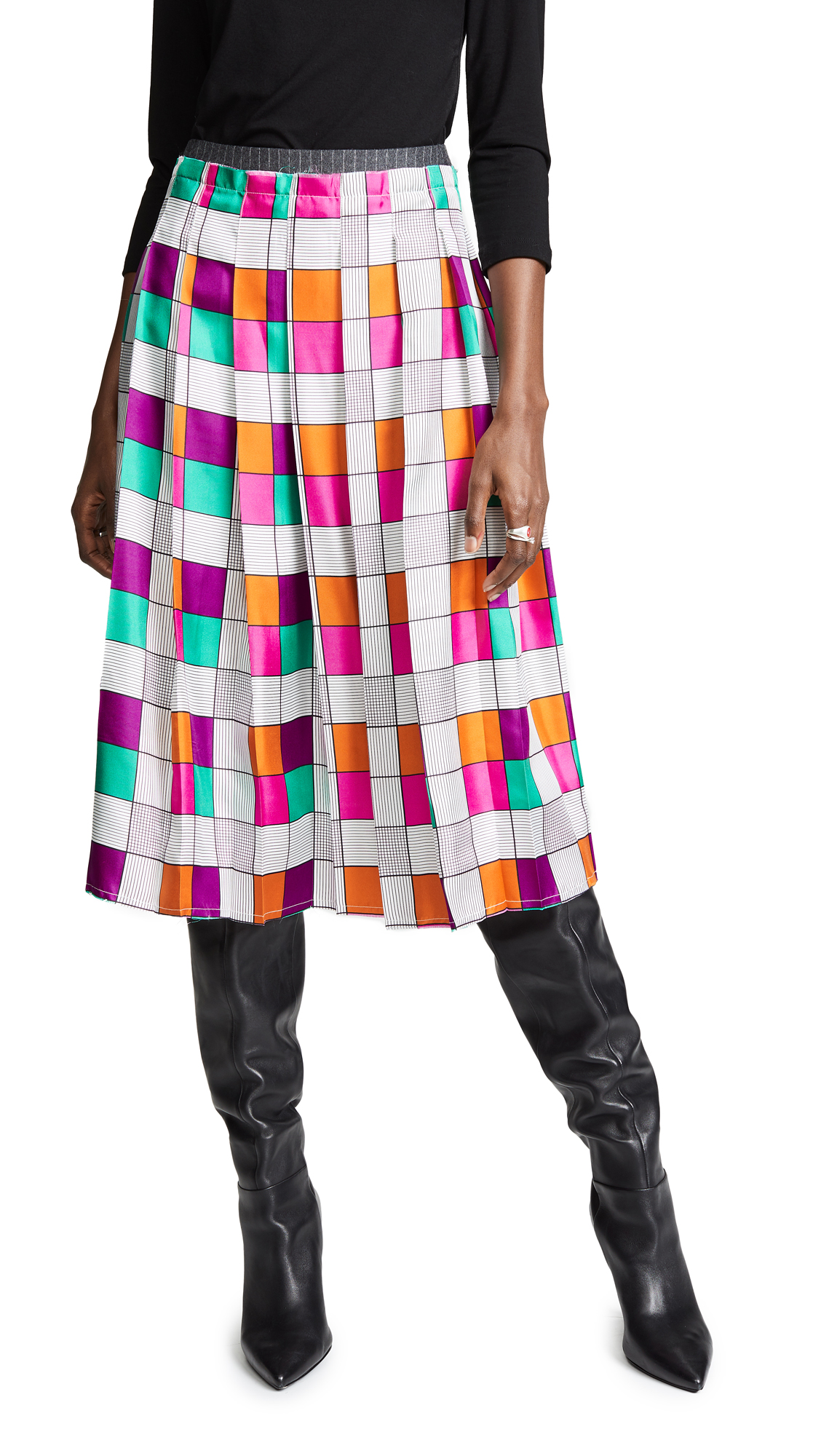 LA PRESTIC OUISTON Gina Grid Skirt in Grey/Pink/Teal