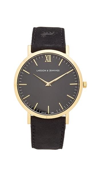 Larsson & Jennings Lugano Large Strap Watch - Gold/Black