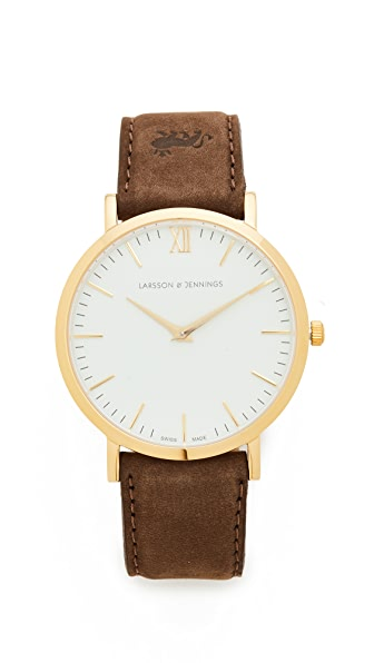 Larsson & Jennings Lugano Leather Strap Watch In Gold/White/Brown