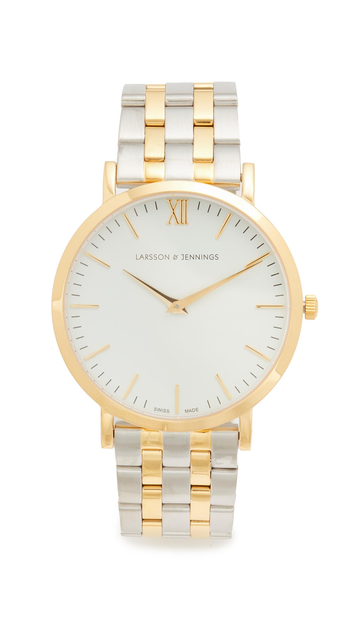 Larsson & Jennings Lugano 5 Link Watch - Gold/White/Silver