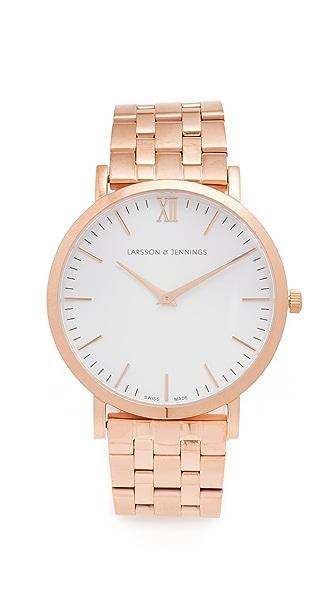 Larsson & Jennings Lugano 5 Link Watch - Rose Gold/White