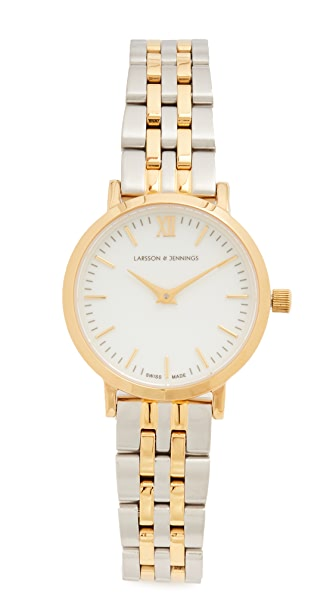 Larsson & Jennings Lugano Small 5 Link Watch - Gold/White/Silver