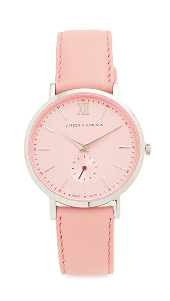 Larsson & Jennings Lugano II Watch In Silver/Pale Pink/Deep Red
